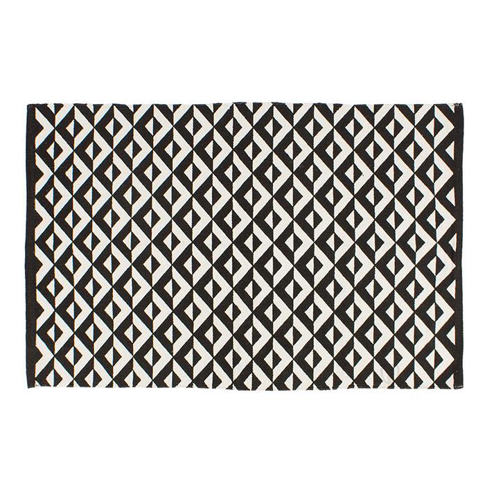 teppich geometrische muster 80 x 120 cm l ufer schwarz wei 100 baumwolle ebay. Black Bedroom Furniture Sets. Home Design Ideas