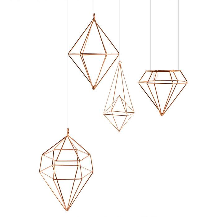 h nge deko set 8 tlg polyeder kupferfarben dekoration anh nger metall ebay. Black Bedroom Furniture Sets. Home Design Ideas