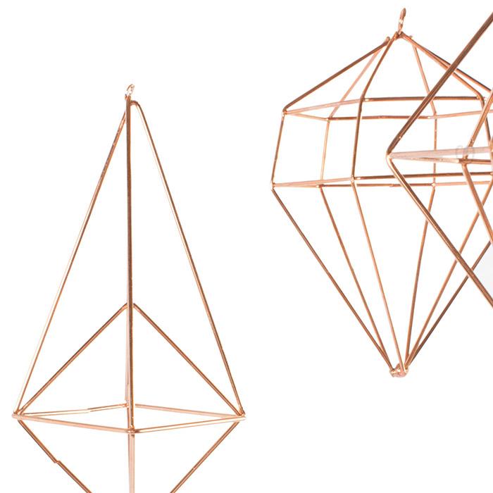 H nge deko set 8 tlg polyeder kupferfarben dekoration for Deko kupferfarben