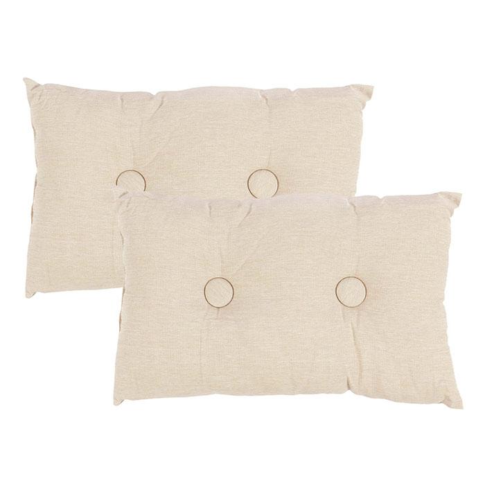 kissen set 2 tlg knopf pastell beige 48 x 28 cm sofakissen dekokissen ebay. Black Bedroom Furniture Sets. Home Design Ideas